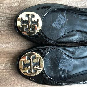 Tory Burch Shoes - Tory Burch Minnie Flat Black and Gold